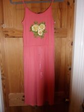size 8, coral dress with embroidered - applique, flower detail on bodice