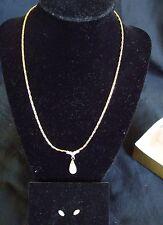 Teardrop Pearl Necklace with Diamondlike Earrings