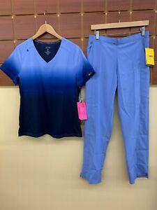 NEW Ceil Blue Print Scrubs Set With Koi Medium Top & Wink Medium Pants NWT