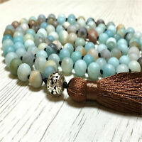 8mm Frosted Amazonite 108 Beads Tassel Knotted Necklace Lucky Yoga Bangle Sutra