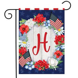 "Patriotic Monogram Letter H Garden Flag Floral Wreath Briarwood Lane 12.5"" x 18"""