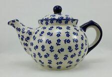 Bunzlauer Keramik Teekanne, für 0,9Liter Tee, Blümchen auf Muster (C016-ASBS)