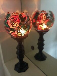 """SET 2 TALL TEA LIGHT CANDLE HOLDER RED ROSE ART DECOR STAIN GLASS LOOK VASE 12"""""""