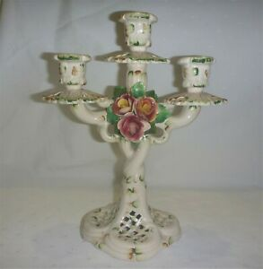 Vintage 1960s Capodimonte Large Triple Candle Holder Holder EXC Florals Gorgeous