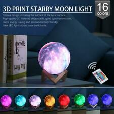 3D Print Star Moon Lamp Colorful 16 Color Change Touch Switch Night Light