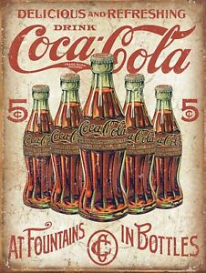 "Drink Coke Coca Cola Retro Vintage Nostalgic Reproduction Metal Tin Sign 9""x12"""