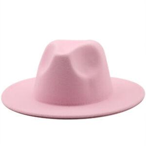 Women Men Fashion New Felt Cowboy Hat Wool Blend Western Cowgirl Cap Size M/L