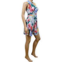 Womens Ladies Floral Cross Back Spring Summer Beach Fit Flare Dress Sundress