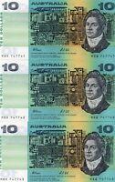 1991 AUSTRALIA FRASER/COL TRIO CONS $10 NOTES  UNC MRB 747741 to MRB 747743