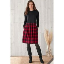 J. Jill Black Red Black Buffalo Plaid Long Sleeve Pocket Dress - Size Small S