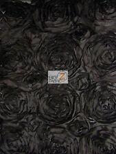 "ROSETTE STYLE TAFFETA FABRIC - Black - 52"" WIDTH BY THE YARD WEDDING GOWN DRESS"