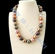Pretty!14mm Multicolor South Sea shell Pearl Necklace 18""