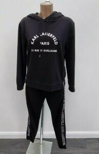Women's Karl Lagerfeld Address Logo Hoodie Trousers Pants Full Tracksuit M 12