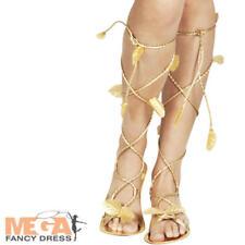 f8fcba6da4f3a8 Ladies Fancy Dress Gold Sandals Womens Greek Roman Egyptian Cleopatra  Goddess