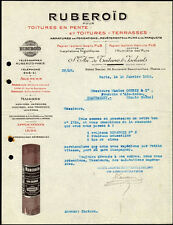 █ Ancienne Facture 1913 RUBEROÏD isolant pour toitures et terrases █