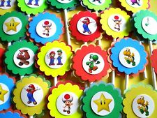 30Ct SUPER MARIO BROTHERS Cupcake Toppers Birthday Party Favors, Baby Shower 30