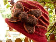 Damen Hut Glocke elegant Angora Weinrot Damenhüte Mütze Herbst Winter Warm