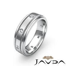 Brilliant Cut Round Diamond Men Eternity Wedding Band Platinum Solid Ring 0.15Ct