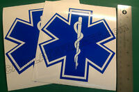 LOT OF 2 STAR OF LIFE AMBULANCE EMT EMS RESCUE PARAMEDIC BLUE REFLECTIVE DECAL