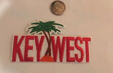 """VINTAGE IRON ON EMBROIDERED """"KEY WEST"""" PATCH. 4 1/2""""x 2 1/4"""" RED! Awesome!!"""