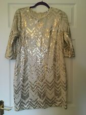Gold patterned shift party dress size m/l  14