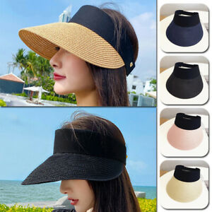 Summer Sun Visor Straw Beach Hat Holiday Ladies Large Wide Brim Empty Top Cap