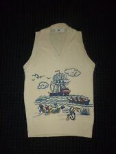 Vtg 60s 70s Sears Boys Size 12 Acrylic Novelty Vest Nautical Sailing Ship Theme