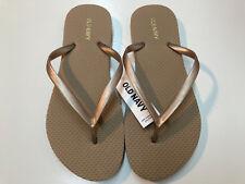 Old Navy Women Flip Flop Thong Sandals Flat Aqua Peach Gold Size 5,6,7,8