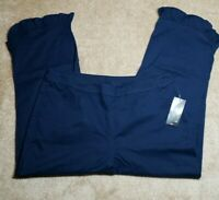 KIM ROGERS RUFFLE CAPRI PANTS PETITE 16 NAVY BLUE SIDE ZIPPER