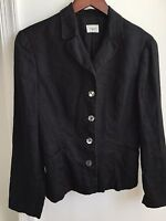 United Colors of Benetton Women's Linen Black Jacket Made in Italy Size 42 (M)