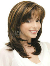 New Women Cosplay Medium Brown Blonde Mix Natural Straight Hair Party Full Wigs