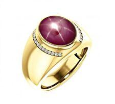 Natural Star Ruby White Topaz Gemstone 22K Yellow Gold Men's Ring SR3687