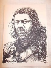 A4 Black Ink Marker Pen Sketch Drawing Sean Bean as Ned Stark Game of Thrones
