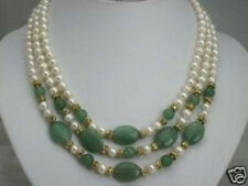 pearl and Emerald necklace 3 rows 7-8mm white