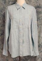 Ralph Lauren Womens sz L Blue Linen Roll Tab Long Sleeve Button Down Top