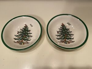 Spode Christmas Tree Set of Two Cereal Oatmeal Berry Bowls