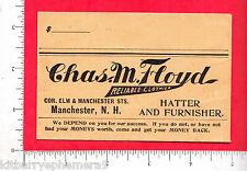 7526 Charles M. Floyd clothes c. 1920 money envelope Manchester, NH hatter