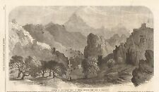 1862 ANTIQUE PRINT- PORTION OF GREAT WALL OF CHINA-PASS OF SHA-PO-YU
