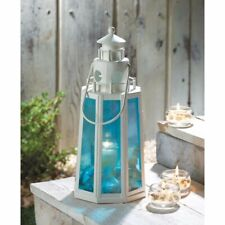 12 White Lighthouse Candle Lanterns Lamps w/ Ocean Blue Glass Coastal Decor