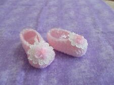 BABY SHOES HANDMADE CROCHET 0-3 MONTHS WHITE-PINK Flower by ROCKY MOUNTAIN MARTY