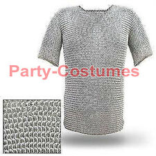 Aluminium Chain Mail Shirt Butted Chainmail Haubergeon Medieval Costume a37s