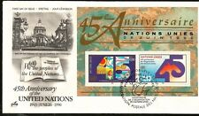 United Nations 45. Anniversary Fdc Fdcs with Block Geneva Stamp 1990