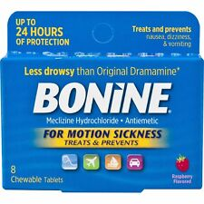 Bonine Adult for Motion Sickness - 8 Chewable Raspberry Flavored Tablets