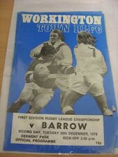 26/12/1978 Rugby League Programme: Workington Town v Barrow (team changes)