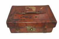 antique Hardy leather tackle case with red baize interior, Alnwick & Pall Mal...