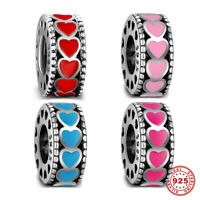 Beauty 925 Sterling Silver Charms Lovely Heart Space Beads Enamel Jewelry