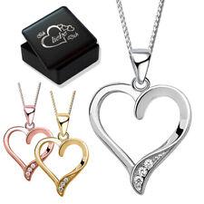 Damen Herz Halskette mit Anhänger echt 925er Sterling Silber Frauen Gravur Box