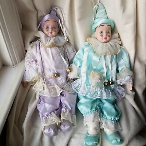Vintage Porcelain Clown Doll Set Twins 90's