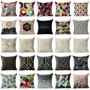 18'' Abstract Geometric Linen Throw Pillow Case Sofa Cushion Cover Home Decor #1