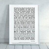 Little Things Song Lyrics Print Poster (Unframed) Wall Art Decor Gift Typography